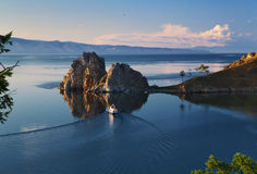Shaman Rock on Olkhon Island at Baikal Lake Stock Photography