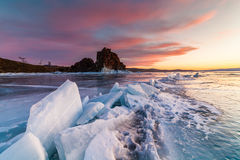 Shaman Rock at sunset. Lake Baikal, Siberia Royalty Free Stock Photos