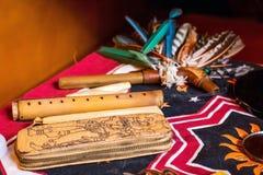 Shaman spiritual tools on the table close up royalty free stock image