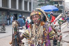 Shaman in the streets of Bogota, Colombia. Bogota - Colombia - May 27, 2018: A shaman nicknamed `Roca Dura` touches the central streets of the city of Bogota.n Stock Photography