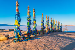 Shaman totem poles at Cape Burkhan on Olkhon Island Stock Photo