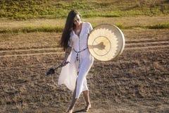Shaman woman  drumming Royalty Free Stock Images