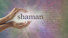 Shaman word cloud and healing hands Royalty Free Stock Photo