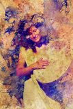 Shamanic girl with frame drum on abstract structured background. Royalty Free Stock Photo