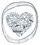 Shamanic hjärta i dekorativ cirkel Royaltyfri Fotografi