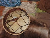 Shamanic tambourine. Shaman drum. For rituals and rites stock photo