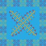 Shamanicornament in rode, gele en blauwe kleuren Royalty-vrije Stock Fotografie