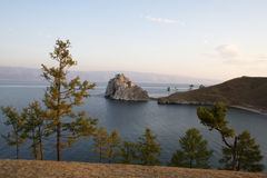Shamanka-Rock on Olkhon island in Baikal lake, Stock Photo
