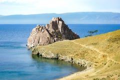 Shamanka skała na Bailak jeziorze Obrazy Stock