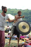 Shamans beat drums and gong Stock Photos