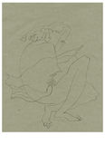 Shame. Hand drawing picture, alone woman, stylize sitting figure Royalty Free Stock Photos