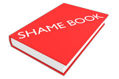 Shame Book concept. 3D illustration of `SHAME BOOK` script on a book, isolated on white Stock Photos
