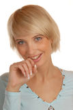 Shame face of attractive blond girl Stock Images