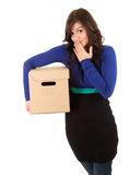 Shame girl with cardboard box Stock Image