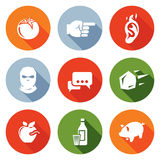 Shame, ridicule Icons Set. Vector Illustration. Flat Icons collection on a color background for design Stock Photo
