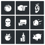Shame, ridicule icons. Vector Illustration. Vector  Flat Icons collection on a black background for design Royalty Free Stock Photos
