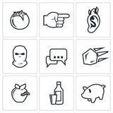 Shame, ridicule icons. Vector Illustration. Stock Photo
