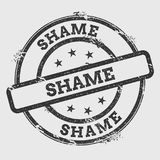 Shame rubber stamp isolated on white background. Grunge round seal with text, ink texture and splatter and blots, vector illustration Royalty Free Stock Photo
