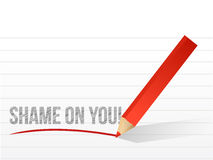 Shame on you written on a pice of paper. Illustration design Royalty Free Stock Image