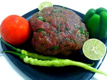 Shami Kebab Dough o carne cruda fotografia stock
