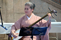 Shamisen artist Royalty Free Stock Image