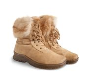 Shammy fur womanish boots Stock Photography