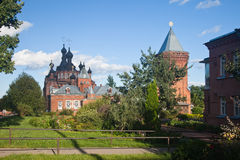 Shamordino. Kazan Amvrosiyevskaya female monastery. Kazan Cathedral. Stock Photo