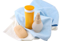 Shampoo, body lotion and soap isolated Stock Photography