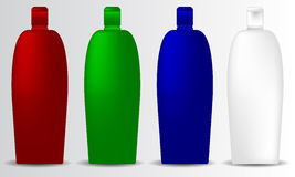Shampoo bottle mock-up collection promo objects brand set Stock Photography