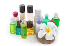 The shampoo bottle set with plumeria flower in spa Stock Photos