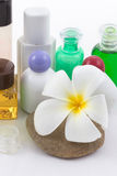 The shampoo bottle set with plumeria flower in spa Royalty Free Stock Photos