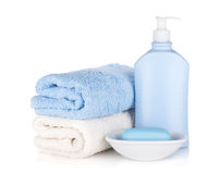 Shampoo bottle and soap with towels Stock Photos