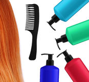 Shampoo bottles, comb and red hair isolated on white Royalty Free Stock Photography