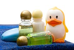 Shampoo bottles and duck Stock Photos