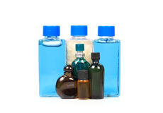 Shampoo bottles and oils Royalty Free Stock Images
