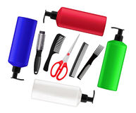 Shampoo bottles, red scissors and combs isolated on white Royalty Free Stock Images