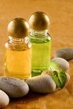 Shampoo bottles with stones Stock Image