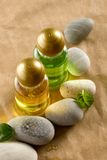 Shampoo bottles with stones Royalty Free Stock Images