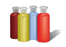 Shampoo colors. Four different color shampoo containers. you can add your labels here Royalty Free Stock Photo