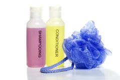 Shampoo conditioner and bath sponge Royalty Free Stock Photography