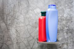 Shampoo and conditioner bottle Stock Photos