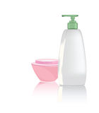 Shampoo and the cream. Illustration of the objects of hygiene against the white background Royalty Free Stock Images