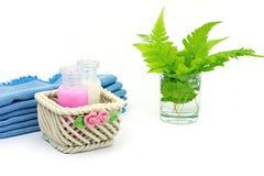 Shampoo en Douchegel op witte achtergrond Royalty-vrije Stock Fotografie