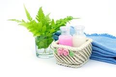 Shampoo en Douchegel op witte achtergrond Royalty-vrije Stock Foto