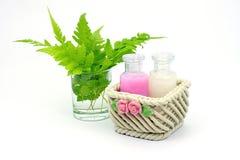 Shampoo en Douchegel op witte achtergrond Stock Foto's