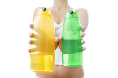 Shampoo in female hands Stock Photography