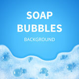 Shampoo foam with bubbles. Soap sud vector background Stock Photos