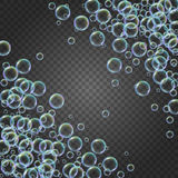 Shampoo foam with colorful realistic bubbles Royalty Free Stock Photos