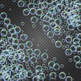 Shampoo foam with colorful realistic bubbles. Shampoo foam diagonal frame with realistic water bubbles on transparent background. Cleaning liquid soap foam for Royalty Free Stock Images