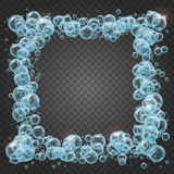 Shampoo frame of realistic water bubbles. Shampoo square frame of cool water bubbles on transparent background. Cleaning liquid soap foam, shampoo bubbles in Stock Photos